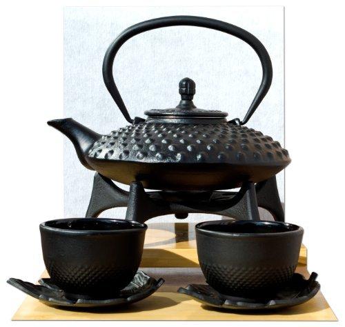 Star Dessous de Plat Feuille Cups & Théière en fonte d'inspiration japonaise avec repose-théière 0,8 l Noir