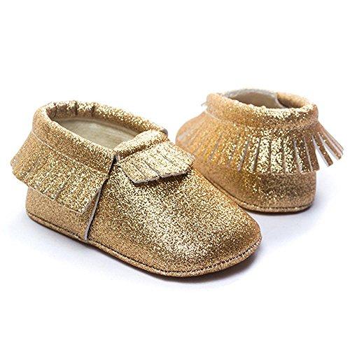 Hunpta Baby Kinderbett Fransen Pailletten Schuhe Kleinkind weiche Sohle Turnschuhe Freizeitschuhe (0 ~ 4 Monate, Silber) Gold