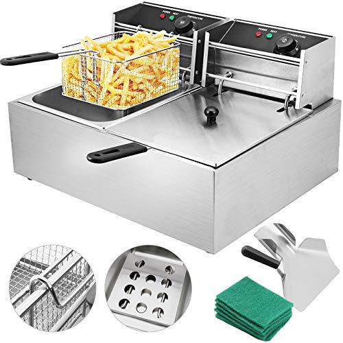 Husuper 5000W Professionelle elektrische Friteuse Kapazität 12L Friteuse Pommes Frites Friteuse Zum Kochen zu Hause oder zum Einkaufen mit Doppelwannen