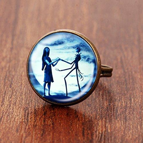 ing Jack und Sally Galss Dome verstellbar Ring Halloween Geschenk messing (Jack Und Sally Ringe)
