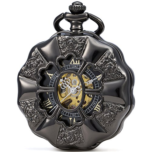 SEWOR Flowers Shape Unisex Analoge hohle arabische Zahlen mechanische Handaufzug-Taschenuhr mit Metallkette SEW252