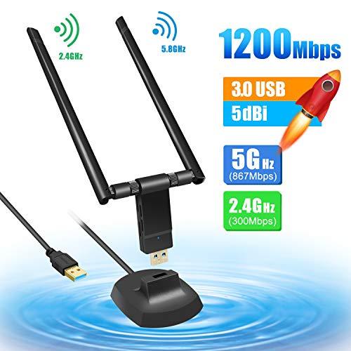 Adattatore Antenna WiFi USB 1200Mpbs Chiavetta WiFi USB 3.0 con 2 Antenna 5dBi Dual Band 2.4G/5G Scheda WiFi 802.11ac Ricevitore WiFi per PC Windows XP/Vista / 7/8/10, Mac OS