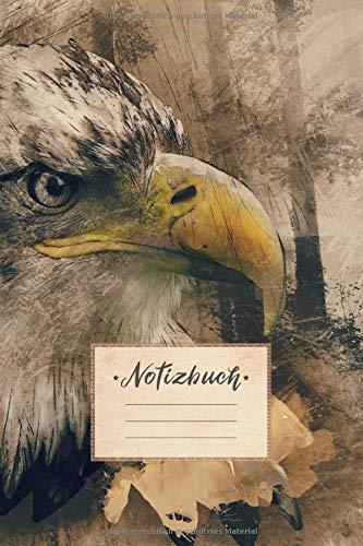 Notizbuch: DIN A5 Format, 100 linierte Seiten, glänzendes Softcover-Design, weißes Papier | Notizheft - Tagebuch - Journal - Planer | Cover: Adler Vogel Zeichnung Gemälde Kunst Tier - Zeichnung Vögel