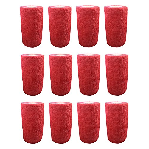 Vendaje autoadhesivo (12rollos) de 10cm x 4,5m, para primeros auxilios, deportes, vendas, animales, de Cobox, rojo