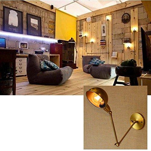 Qwer stile industriale Applique Applique. lampade in ferro battuto con braccio lungo Swing, oro