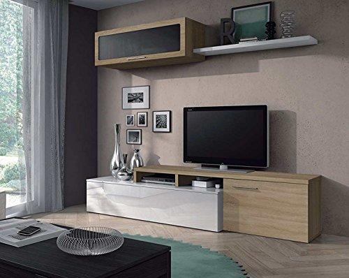 PEGANE Séjour TV en Panneaux de Particules Blanc Brillant et chêne Canadien - Dim : L200 x P41 x H44 cm