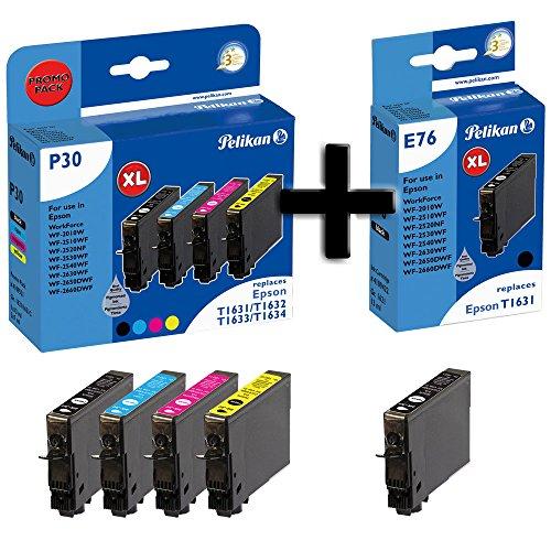 Pelikan P30 Druckerpatronen Promo Pack Plus 5, kompatibel zu Epson WF-2010W, WF-2510WF, WF-2520NF, WF-2530WF, WF-2540WF, WF2-630WF, WF-2650DWF, WF-2660DWF, ersetzt T1631, T1632, T1633, T1634 PIGMENTIERTE TINTE