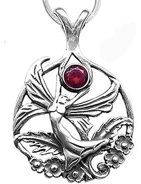 Schmetterlingselfe Anhänger Amulett Elfe Elfenanhänger aus 925er Silber Schmuck mit 1,2mm Schlangenkette 45cm...
