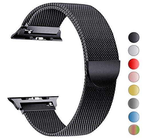 MouKou Ersatz Armbänder für Apple Watch Series 4 44mm und Series 3/2/1 42mm Schwarz Milanese Mesh Loop mit Magnetverschluss Edelstahl Armband