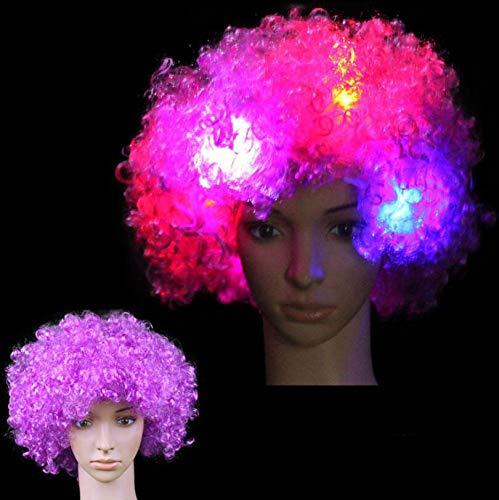 LIYUEJING Glühende Kopfbedeckung Hut Explosion Kopf Perücke Led Flash Kopfschmuck Clown Perücke Fan Supplies,N (Flash Kostüm Perücke)