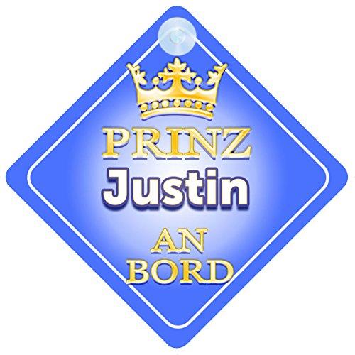 Prinz Justin An Bord mit Krone Personalisierte Autokennzeichen Neues Baby Junge / Kind Geschenk / Präsentieren / Baby on Board / Autoschild ...