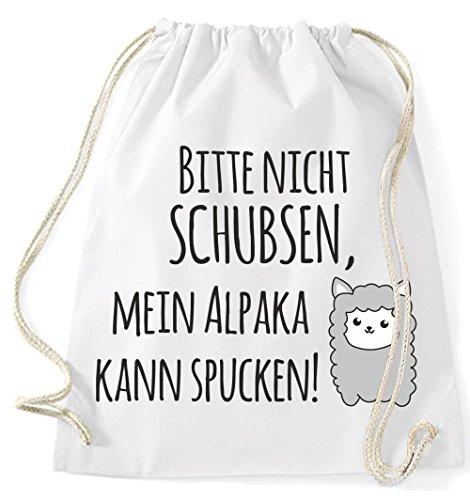Jutebeutel Turnbeutel Sportbeutel Stofftasche Baumwolltasche Tasche Rucksack mit Kordel Gymsack Mein Alpaka kann spucken! (Natur) Weiß
