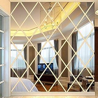 RENYAYA 3D-TV-Wand Decke Kreativ Spiegel Diamant-Förmige Acryl-Kristall-Diamant Blöcke, 50 * 50Cm Abnehmbare Wandaufkleber Schlafzimmer Wohnzimmerwand Bad Study Barber Shop,S