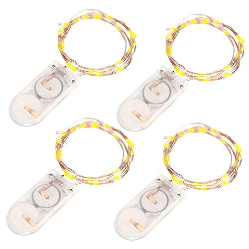 VOYOMO(TM) 10er LED-Lichterkette Warmweiß Weihnachtsbeleuchtung Innen Micro Draht Batterie-betrieben 3.3Ft/1M (4 Stück)