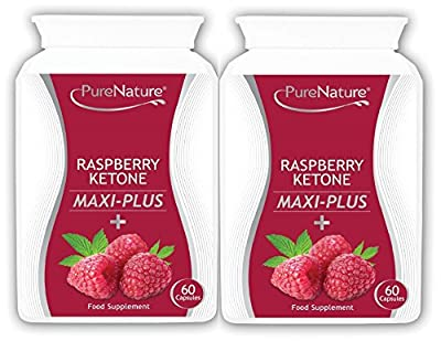 Raspberry Ketone Maxi-Plus Twin Pack 8000mg Daily + 9 Additional Diet & Slimming Ingredients to Boost Weight Loss, Acai Berry, African Mango, Green Tea, L Carnitine, Grapefruit Extract, Resveratrol, Kelp, Apple Cider Vinegar & Caffeine-Anhydrous, Made in