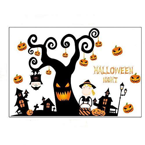 Tdhappy Wand Aufkleber Halloween Cartoon Wallpaper Aufkleber Horror Baum Glas Store Fenster Ornament können den Kürbis Deko entfernen