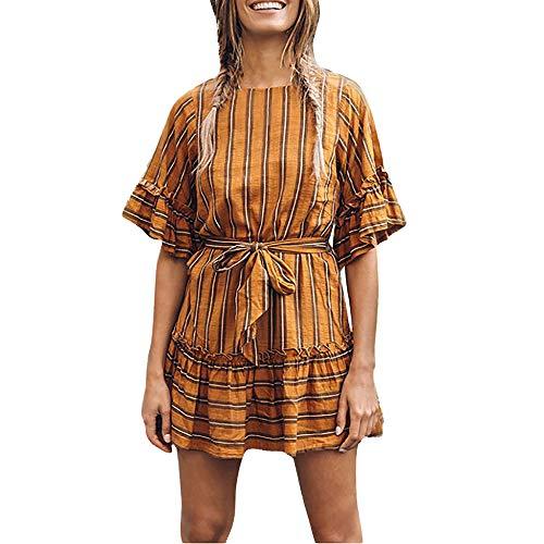 JMETRIC_Kleider Damen Kurzarm Rundhalsausschnitt Kleider Streifen Sommerkleider Hornmanschette Hoher Hüftgurt Rock ()