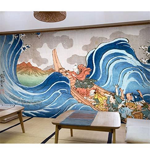 Anpassen Persönlichkeit Wandbild Japanischen Dorf Folk Figur Meer Landschaft Landschaft Wohnzimmer Tv Sofa Kind Wallpaper3D-450X300Cm ()