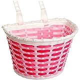 alles-meine GmbH Fahrradkorb / Korb -  pink / rosa weiß  - mit Befestigung für Lenker vorne - Fahrrad Kinder - Mädchen Jungen - Bastkorb - universal auch für Roller und DREI..