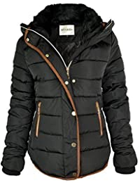 Fashion Thirsty WOMENS LADIES QUILTED WINTER COAT PUFFER FUR COLLAR HOODED JACKET PARKA SIZE NEW