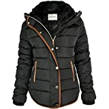 WOMENS LADIES QUILTED WINTER COAT PUFFER FUR COLLAR HOODED JACKET PARKA SIZE NEW (UK 12, Black / Brown Trim)