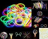 200 Knicklichter, Glow Sticks, Leuchtsticks+5 Leuchtbrille+5 Leucht Haarreifen+200Konnektoren+Kreisverbinder