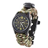 HARRYSTORE Military Mens Quartz Army Watch Survival Bracelet With Watch Compass Flint Fire Starter Scraper Whistle Gear