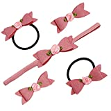 #10: D'chica A Chic Pink Hair Accessories Combo For Girls (Combo Set Of 2 Rubberband, 2 Clip, 1 Headband), Specially Design For (3 to 13 Years) Age Group.