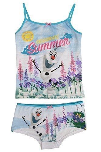 Ragazze-Olaf-Canotta-Lunga-Slip-Set-Frozen-Bambini-Festeggiare-Estivo-Bambini-Pigiama