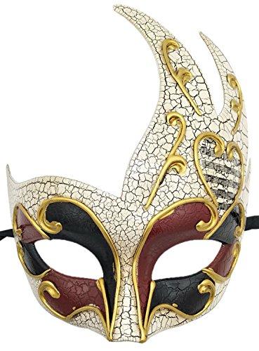 Kostüm Maske Ball - Coolwife Herren Maskerade Maske Vintage Venetianischen Crack Party Karneval Ball Kostüm Maske (Burgund / Schwarz)