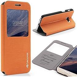 Urcover Étui Galaxy A5 2017, Cross Pattern Housse [avec fenêtre] Coque Samsung Galaxy A5 2017 Fermeture Magnétique Orange Smartphone