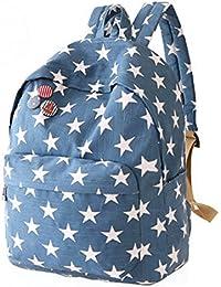 2332eb9da8fac Star Drucken Leinwand Haversack Studenten Schule-Beutel-beiläufige Reise  Rucksack für Teenage Mädchen