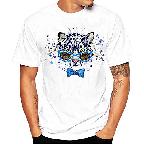 Uomogo t-shirt da uomo, stampa con lupo colorati, leopardo, birra,eleganti strane vintage divertenti manica corta moda fashion, estivi ragazzo tecnica modellante primavera taglia forti