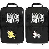 Auto Rückenlehnenschutz– Intipal Rücksitztasche Rücksitz Organizer Rückenlehnentasche mit iPad-Fach Wasserdicht (Zebra+Löwe)