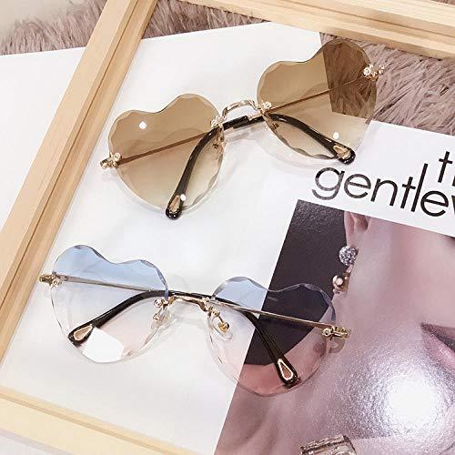 Sonnenbrillen Persönlichkeit rahmenlos trimmen Liebe herzförmige Sonnenbrille transparent Pfirsich Herz Männer und Frauen weich Harajuku herzförmige Sonnenbrille-5