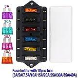 EEFUN Caja del Sostenedor del Fusible de la Lámina Estándar del Coche de 6 Maneras (Apliqúese a 1 ~ 40 AMP), Bloque con 10 Fusibles Libres de la Lámina-3A/5A /7.5A /10A /15A /20A /25A/30A/35A/40A