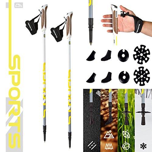 Msports Nordic Walking Stöcke Premium White - hochwertige Qualität - Superleicht - auswählbar mit Tragetasche - Walking Sticks (Nordic Walking Stöcke)