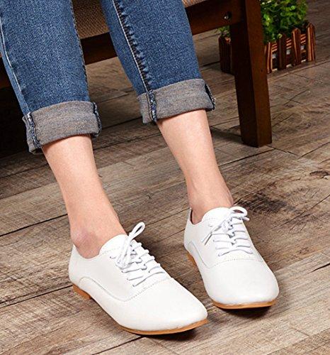 Damen Schnürhalbschuhe Niedrige Flache Freizeitschuhe Britische Stil Rundzehen Anti-Rutsche Bequeme Modische Lederschuhe Weiß