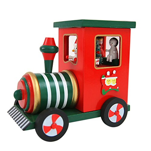 Coupon Matrix - SO-buts Christmas Train Reindeer Snowman Wooden Winding Music Boxes Gift for Girls Boys Baby (Train, 11 * 21 cm)
