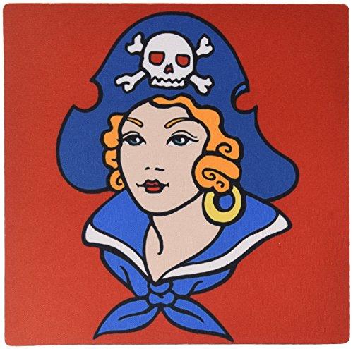 0,3x 0,6cm Maus Pad, klassisches Tattoo Design Pirate Girl Lady auf rotem Hintergrund (MP _ 119085_ 1) (Lady Pirates)
