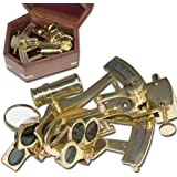 Nautic Sextant aus MESSING 12,5cm + Massivholzbox Modell ELECSA 9050