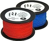 25m Hüpfgummi 2mm Rundgummi Hutgummi Gummischnur Gummitwist rot / blau PES Flechtmantel Latexkern, Farbe:blau