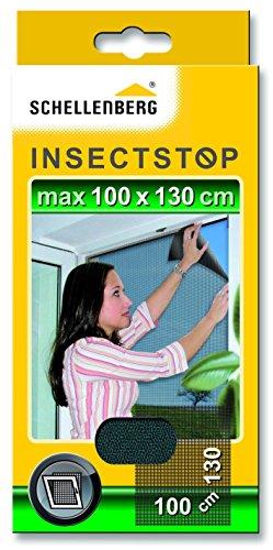 Schellenberg 50713 Fliegengitter für Fenster | zuverlässiger Schutz vor Mücken, Fliegen, Insekten & Ungeziefer | Maße: 100 x 130 cm | anthrazit | einfache Montage ohne bohren | inkl. Befestigungsb