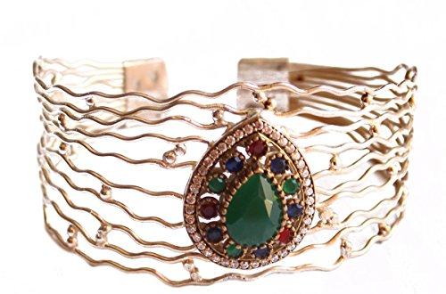 Smeraldo , rubino, zaffiro e gioielli di zircone Bracciale fissati pietra preziosa turco ottomano