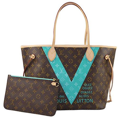 Louis Vuitton Handtasche Neverfull, mit MM-Monogramm, V, Türkis, M41601
