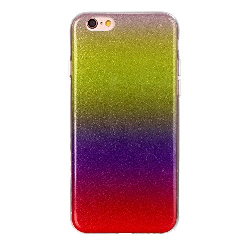 "MOONCASE Ultra-thin TPU Silicone Housse Coque Etui Gel Case Cover Pour iPhone 6 Plus / 6S Plus 5.5"" Doré JauneVoiletRouge"
