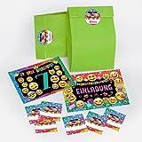 JuNa-Experten 12 Einladungskarten zum 7. Kindergeburtstag für Mädchen incl. 12 Umschläge, 12 Geschenktüten / grün, 12 Aufkleber / Einladung siebte Geburtstag