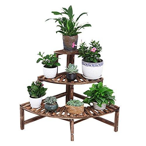 Home experience vaso da fiori in legno a più livelli mensola angolare a forma di ventaglio per piante da giardino stand per piante da esterno e da interno
