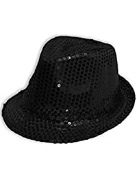 Wicked Fun Mens Ladies Trilby Hat Sequin Fedora Hat 1920'S Gangster Fancy Dress Dance Show Unisex Accessory (Black)