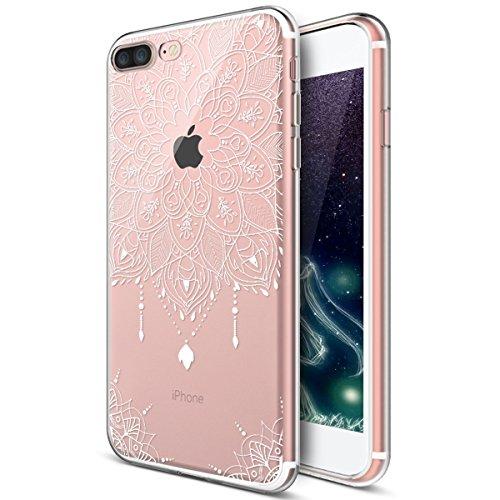 Kompatibel mit iPhone 8 Plus Hülle,iPhone 7 Plus Hülle,Weiße Henna Mandala Blumen Spitze Paisley Indische Sonne TPU Silikon Hülle Tasche Durchsichtig Handyhülle Schutzhülle für iPhone 8 Plus/7 Plus,#4 - Pink Henna